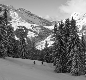Fresh tracks in the trees accessed from Megeve Jaillet