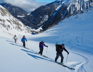 Ski touring near the Col de Balme