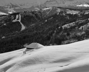 Mid winter ski touring through the summer chalets en route to Petit Patre