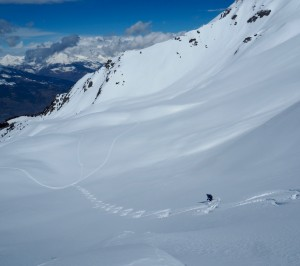 The wide open bowls above the chairlifts of Pila