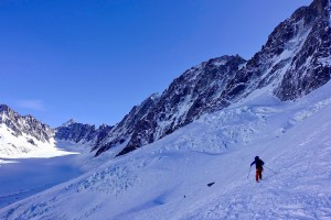 Heading in to the Argentiere Basin having skinned from the top of the Herse lift at Grands Montets.