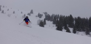 Mid winter powder descent from the Petit Croise Baulet. Photo Gav Pike