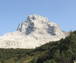 The Impressive Limestone Bulk Of Pointe Percée Seen From The Approach To The Hut
